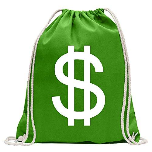 chen - Dollar Zeichen Turnbeutel Fun Rucksack Sport Beutel Gymsack Baumwolle mit Ziehgurt ()