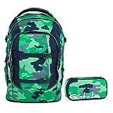 Satch Pack by Ergobag Green Camou 2-tlg. Set Schulrucksack + Schlamperbox