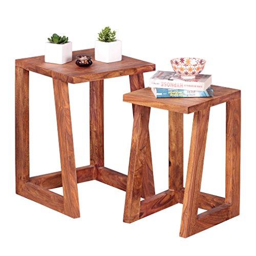 WOHNLING 2er Set Beistelltisch Massiv-Holz Sheesham Design Satztisch Wohnzimmer-Tisch rund Couchtisch Natur-Holz dunkel-braun Nachttisch Landhaus-Stil Nachtkommode Untergestell Telefontisch 50 cm hoch