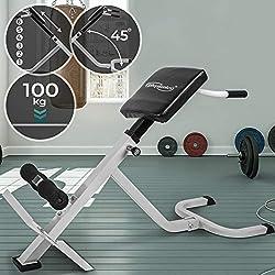 Physionics Rückentrainer Geräte - Höhenverstellbar (6-stufig), 45°, mit Gepolsterter Beinfixierung, Max. Belastung 100 kg - Bauchtrainer, Hyperextension, Rückenstrecker