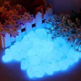 100 Pcs Pebbles Stone, Glow in the Dark Garden Pebbles Rocks for Walkway, Yard, Window, Outdoor And Fish Tank Decoration, Create Glowing Starry Night Garden bleu ciel