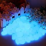 Leuchtsteine nachtleuchtende Steine Leuchtkiesel 100 Stück Dekoration Aquarium Garten Gehweg Blau 1,5-3,0 cm