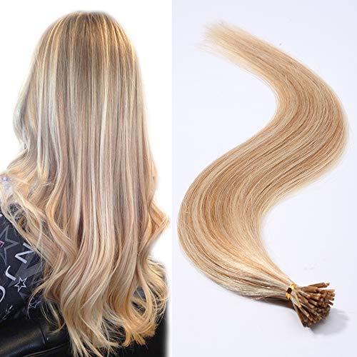 Extension capelli veri indiani con cheratina 100 ciocche estensioni i tip 45cm 100% remy human hair keratina lunghi lisci 50g - 18#/613# beige sabbia biondo/bleach biondo
