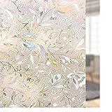 rabbitgoo Fensterfolie 3D Statisch Selbsthaftend Blickdicht Sichtschutzfolie Fenster Folie Glasfolie Selbstklebend Dekofolie Anti-UV Blumen 90 x 200 cm