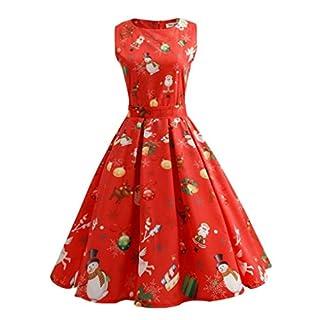 Zarupeng Frauen Weihnachten Drucken Ärmellos Rundhals Party Panel Kleid (3XL, Rot)