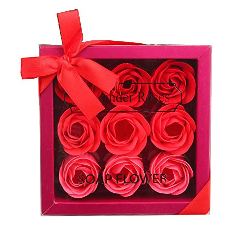 Beito 1 confezione floreale rosa profumato sapone da bagno petali di fiori di rosa a forma di scatola regalo di sapone naturale rosa sapone dolce regalo set per la festa della mamma (rosso)