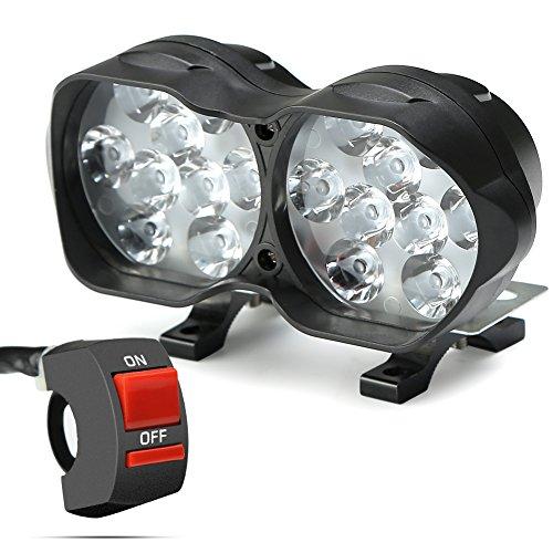 Motorrad Scheinwerfer, 30W 3000LM LED 9-85V Motorrad Frontscheinwerfer mit universalem 3-Tasten Schalter für Motorrad Auto Boot ATV