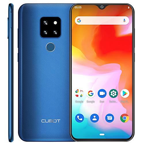 CUBOT P30 4G Smartphone ohne Vertrag 16.0cm (6.3 Zoll) FHD+ Wassertropfen Display 4+ 64 GB, Triple-Kamera, Dual-SIM, Android 9 4000mAh Face ID und Fingerabdrücke Blau (Glacier Blue)