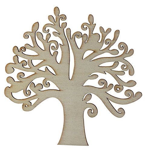 Da.Wa 10x Tree Shaped Hollow Design Wooden Embellishments for Crafting and Decoration