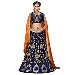 WomenS Navy Blue Color Embroidered Lehenga -ASKQA672
