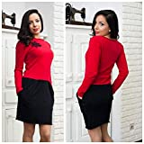 Casual Stylish Dress in Red for Women with Pockets, 100% Cotton Dress, Winter Dress, Long Sleeves Dress, Everyday Dress, Fitted dress, Size M
