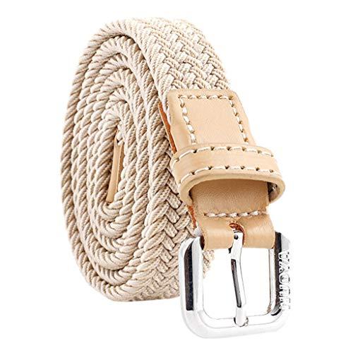 bobo4818 Komfortabel Elastische Geflochtener Stretch Gürtel - Stretchbelt - Stoffgürtel - Flecht mit PU Canvas für Damen und Herren (Khaki) (Country Outfits Für Frauen)