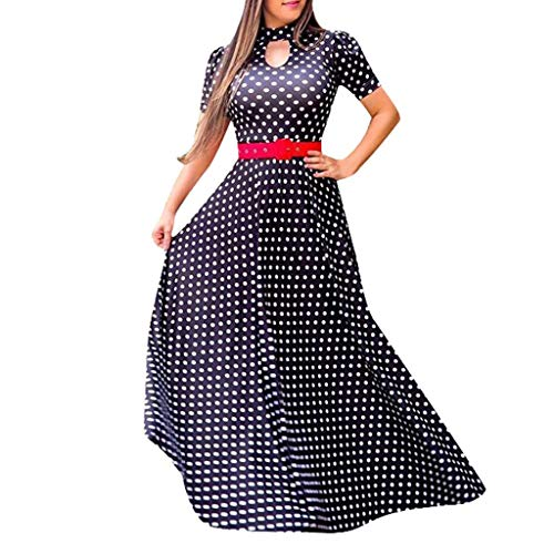 VEMOW Vestido Largo Estampado Corte Cuello Alto Manga