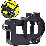 MENGS® Aluminium-Legierung Gehäuse Fall Für GoPro Hero 5 Mit rückseitiger Abdeckung + 52mm UV Filter und Objektivdeckel - Schwarz
