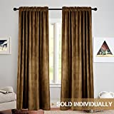 TOPICK Room Darkening Velvet Curtain Panels/Drapes for Bedroom, Thermal Insulated Curtain (1 Panel, 52 by 95 Inch, Cocoa Brown)