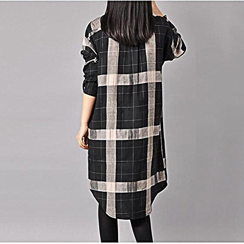 YANXH Femmes Coton et Lin Blouses Lâche Manches Longues Treillis Robe black grid