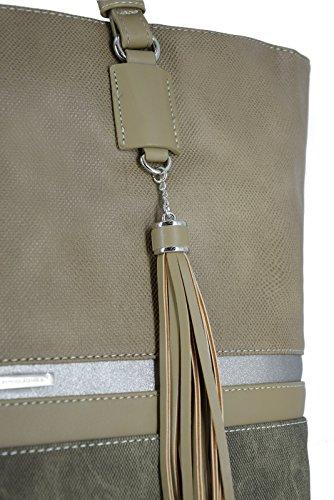 David Jones - Womens Large Size Tote Handbag - Long Handles Ladies Shoulder Bags - Stripes Multicolor Top-Handle Bag - Shopper Briefcase Work School Travel Big Bag - Waterproof Canvas - Rosa Verde Kaki