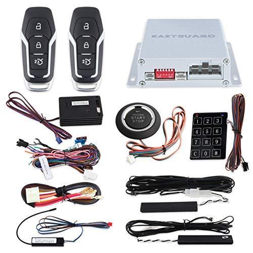 EASYGUARD EC002-FO2-NS Smart Key Kit d'entrée Passive sans clé avec Bouton Poussoir Démarrage à Distance et Mot de Passe entrée DC12 V