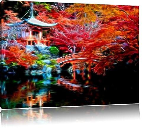 Temple chinois, peinture sur toile, d'énormes photos XXL complètement encadrée avec civière, copie d'art de l'image de mur avec cadre, moins cher que des peintures ou des photos, pas d'affiches ou poster, Leinwand Format:120x80 cm