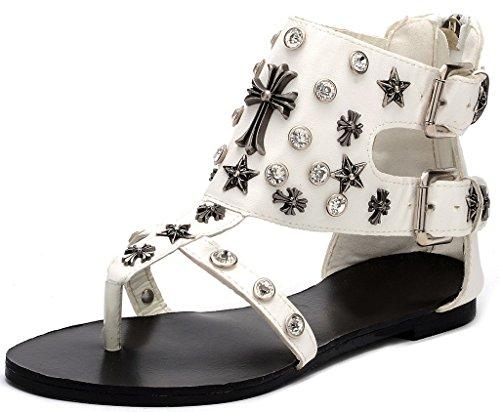 Odema sandali estivi senza tacco con Strass e cinturini e banda in forma di T da donna Bianco