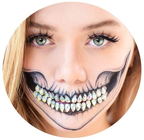 Tattoocrew® 4 x Halloween Tattoos Totenkopf + 30 Glitzersteine als Zähne - Diamond Skull Look zum Aufkleben (5 Halloween-make-up Minuten In)