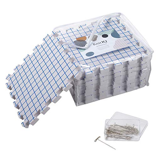 KnitIQ Spannmatten-Set - 9 extra Dicke 1,9cm Tiefe Spannunterlagen mit Rasterlinien, 32x32cm, 100 stabile rostfreie T-Nadeln und Stautasche für Stricken Häkeln Lace