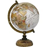 Globeskart Educational/Antique Globe With Brass Antique Arc And Wooden Base ,8 Inches (Earth Texture)