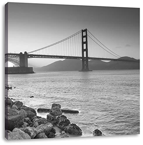 wunderschöne Golden Gate Bridge schwarz/weiß, Format: 60x60 auf Leinwand, XXL riesige Bilder fertig gerahmt mit Keilrahmen, Kunstdruck auf Wandbild mit Rahmen, günstiger als Gemälde oder Ölbild, kein Poster oder Plakat (Weiß-plakat Schwarz California Und)
