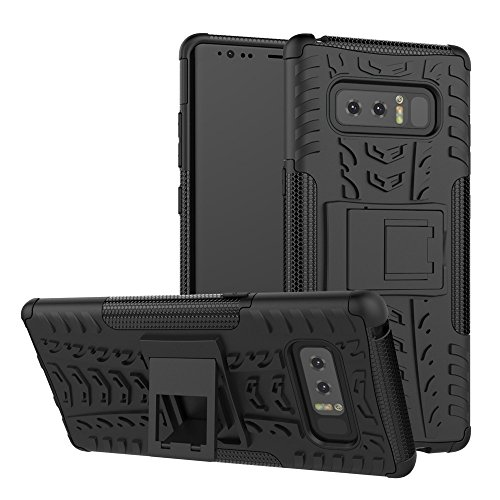 Sumoon Schutzhülle für Galaxy Note 8, strapazierfähig, stoßfest, Hybrid-Hart-PC- und weiche TPU-Hülle mit Ständer für Samsung Galaxy Note 8 2017, schwarz (Externer Akku Für Note Edge)