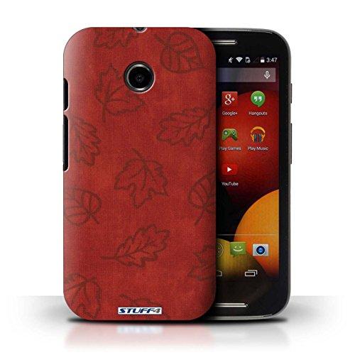 Kobalt® Imprimé Etui / Coque pour Motorola Moto E (2014) / Bleu conception / Série Motif Feuille/Effet Textile Rouge