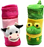 #7: Crack4Deal Baby Feeding Bottle Covers Attractive Cartoon- Combo sets (Pink And Green)