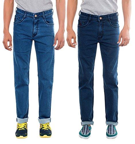 Rivex Men's Combo of Basic Regular Jeans (Pack of 2)(Size:38)