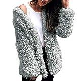 Plüschmantel Sannysis Damen Warme Strickjacke Herbst Winter Elegant Pullover Outdoorjacke Steppjacke Faux Pelzmantel Mit Kapuze Parkajacke