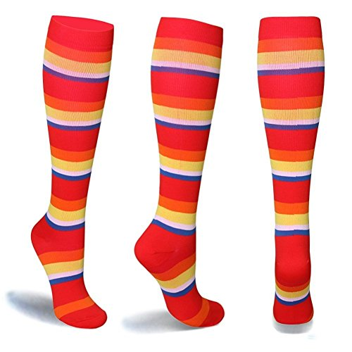 Graduated-Compression-Socks-for-Women-Men-20-30-mmHg-Moderate-Compression-Stockings-For-Running-Crossfit-Travel-Suits-Nurse-Maternity-Pregnancy-Shin-Splints-Rainbow2-Pairs-SM