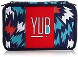 YUB - Astuccio Scuola, 3 Scomparti, Blu/Rosso