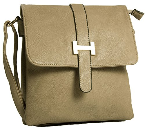 Big Handbag Shop Multipocket-Borsa da spalla, tracolla (Light Tan (BH534))