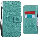 Ougger Handyhüllen LG G7 ThinQ/G710EM Hülle, Blühende Blumen Leder Schutzhülle Bumper Schale Weich TPU Silikon Magnetisch-Stehen Beutel Flip Cover Tasche LG G7 ThinQ mit Kartenslot (Grün)