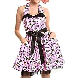 Luv Bunny Lb kawaii cuello halter vestido mujer Rosa Anime Cute Emo en poliéster Rosa rosa large