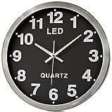 Riesen Wanduhr XXL LED-Wanduhr Design Farbe Silber Chrome Tischuhr Uhr Design großes Zifferblatt und Zahlen Dekoration Zimmer-deko