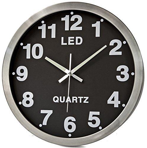 Riesen Wanduhr XXL LED-Wanduhr Design Farbe Silber Chrome Tischuhr Uhr Design großes Zifferblatt und Zahlen Dekoration Zimmer-deko - Chrome Digital Uhr