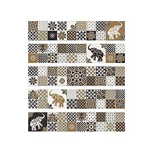 WEIFENGX Fliesenaufkleber 20 cm x 20 cm x 25 stück Aufkleber Fliesen Sticker Selbstklebend – Badezimmer und Küche Elefantenblumenaufkleber im arabischen Stil cz009