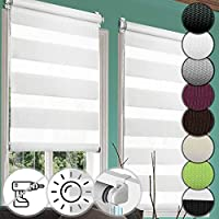 Miadomodo® Duo Roller Blind   80x175cm, White, Adjustable w/Pull Cord, Translucent or Blackout, Striped   Day Night, Dual, Double Layer Curtain, Privacy & Sunlight Shield