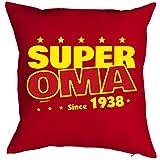 Oma Sprüche-Kissen zum 80 Geburtstag - Geschenk-Idee Dekokissen Jahrgang 1938 : Super Oma since 1938 -- Geburtstag 80 Kissen Farbe: rot