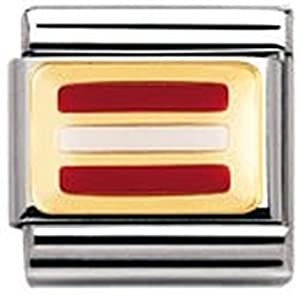 Nomination Composable Classic FLAGGE EUROPA Edelstahl, Email und 18K-Gold (OSTERREICH) 030234