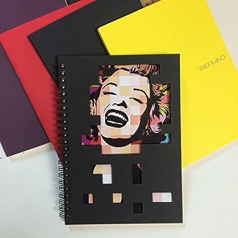 Marilyn Monroe hecho a mano cuaderno/diario/lácteos/cubierta Negro Única/clase diario
