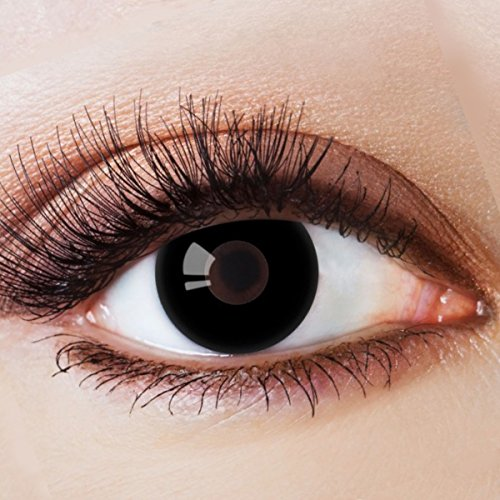 Farbige Kontaktlinsen Schwarz Ohne Stärke mit Motiv Schwarze Fun Linsen für Halloween Karneval Party Fasching Cosplay Kostüm Black Blind Eye (Günstige Black Swan Kostüme)