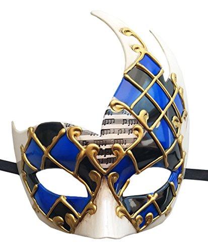 Herren Maskerade Maske Venetian Musical Kariert Party Maske Halloween Mardi Gras Maske (Blau /Schwarz)