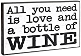 Chickidee Homeware All You Need Is Love and A Bottle of Wine Plaque, Wood, White, 26 x 17 x 4 cm