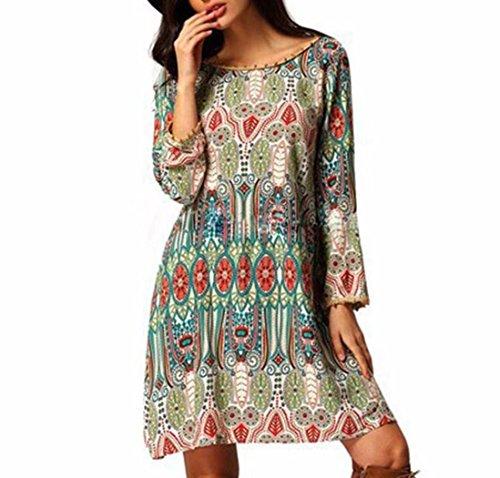 vovotrade La mujer retro National Wind Loose cuello redondo vestido de ropa ( Tamaño: L, verde)