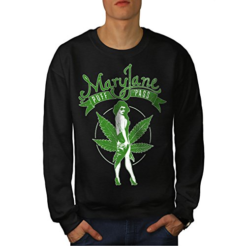 Wellcoda Cannabis Bouffée Passer Marie Homme Sweat-Shirt Maria Pull Occasionnel Pull